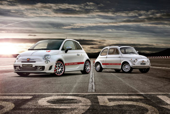 The old and the new, an excellent shot of the latest Abarth 595 meeting its hot ancestor from 1963.